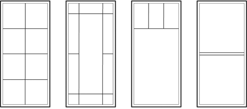 Typical patterns for Casement, Awning, Fixed Sash and Panoramic style windows