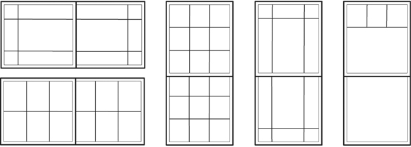 Typical patterns for Single Slider, Single Hung, Double Slider and Double Hung style windows
