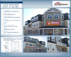 Home Hardware Lofts installation, using 4000 Series Single Hung windows and patio sliding doors.