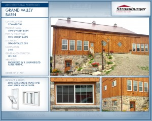 Grand Valley barn installation, using 4000 Series Single Hung and Single Slider windows.