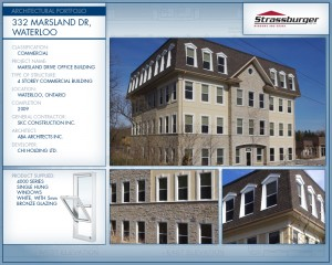 Marsland office building installation, using 4000 Series Single Hung windows