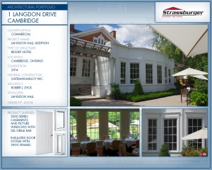 Langdon Hall installation, using 5000 Series Casement and Picture windows and insulated door system